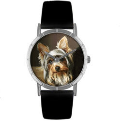Yorkie Print Watch with Italian Leather Band