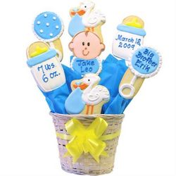 Personalized Special Delivery Baby Boy Cookie Bouquet
