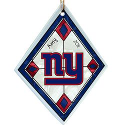 Personalized New York Giants Glass Ornament