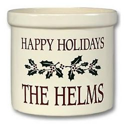 Happy Holidays Pottery Crock