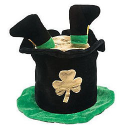 Plush St. Patrick's Day Pot of Gold Hat with Feet