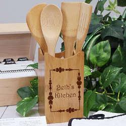 Engraved Vineyard Bamboo Kitchen Utensil Set