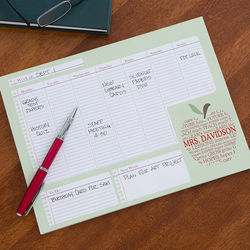 Teacher's Apple Scroll Personalized Small Desk Calendar