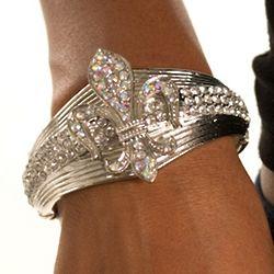 Glamorous Silver Fleur Rhinestone Bracelet