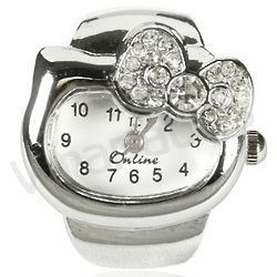 Crystal Kitty Ring Watch