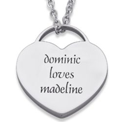 Stainless Steel Message of Love Engraved Heart Pendant