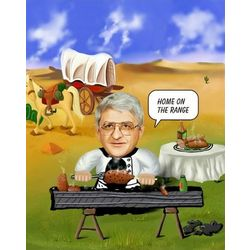Western Barbecue Custom Photo Caricature Art Print