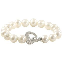 Sterling Silver Diamond Heart Pearl Bracelet
