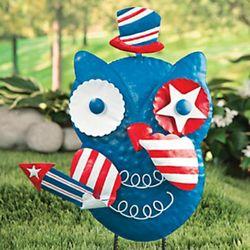 Patriotic Owl Metal Sculpture