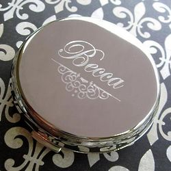 Personalized Compact Mirror with Fancy Scroll Design