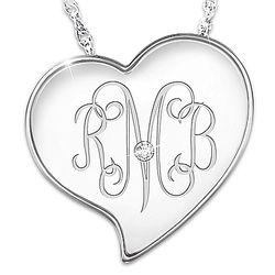 Personalized Monogram Diamond Sterling Silver Heart Pendant
