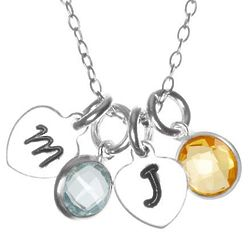 Hand Stamped Silver Heart Mini Initial Birthstone Necklace