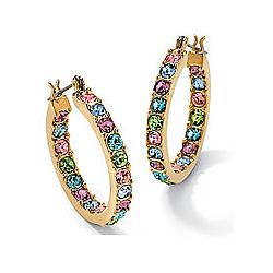 Multi-Color Crystal Hoop Earrings