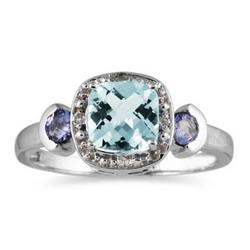 Cushion Cut Aquamarine & Tanzanite and Diamond White Gold Ring
