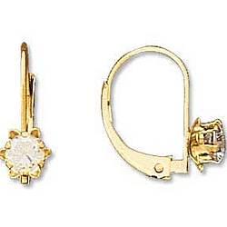 Children's 14k Gold Cubic Zirconia Lever Back Earrings