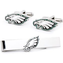 Philadelphia Eagles Cufflinks and Tie Bar Set