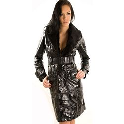 Black Shiny Pleather Matrix Trench Coat