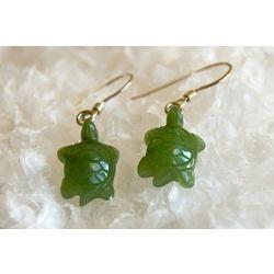 Handcarved Nephrite Jade Turtle Earrings