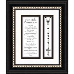 First Communion Prayer and Rosary in Black Frame