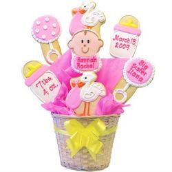 Personalized Special Delivery Baby Girl Cookie Bouquet