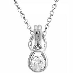 Sterling Silver Cubic Zirconia Love Knot Necklace