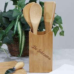 Engraved Bamboo Kitchen Utensil Set