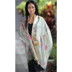 Cherry Blossoms Silk Batik Shawl