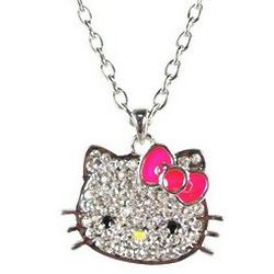 Crystal Kitty Necklace with Hot Pink Bow
