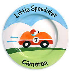 Baby's Little Speedster Personalized Ceramic Plate