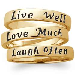 Stackable Live Love Laugh Gold Plated Rings