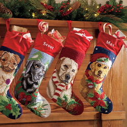 Hooked Wool Personalization Dog Christmas Stocking