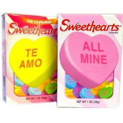 Sweethearts Candy in English and Spanish
