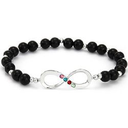 Four Birthstone Infinity Charm Onyx Beaded Stretch Bracelet