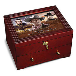 John Wayne Wooden Strongbox with Lock and Key and Movie Art