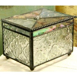 Stained Glass Keepsake Box with a Personalized Charm