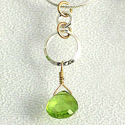 Peridot Pendant in Sterling Silver and Gold Fill