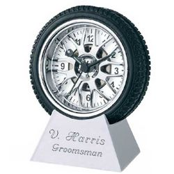 Personalized Tire Alarm Clock with Metal Base