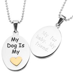 My Dog Is My Heart Engraved Stainless Steel Pet Pendant