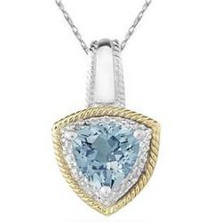 Aquamarine and Diamond Pendant 14k Yellow Gold and Silver