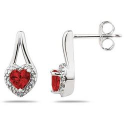 Garnet and Diamonds Heart Shape Earrings in White Gold