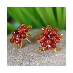 'Ginger Star Blossoms' Carnelian Button Earrings