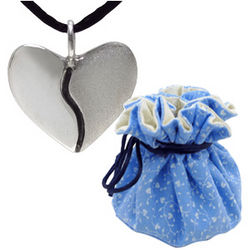 2nd Anniversary Silver Harmony Heart in Cotton Pouch