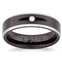 Cobalt Two-tone Beveled Cubic Zirconia Engraved Band