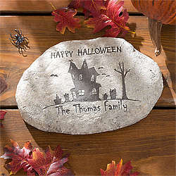 Personalized Haunted House Halloween Garden Stone