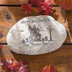 Personalized Haunted House Halloween Garden Stone