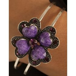 Lucky Clover Jeweled Metallic Bracelet