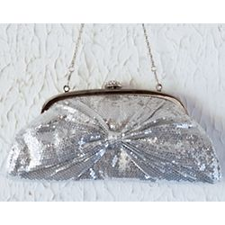 Silver Shiny Sequins Bow Clutch Bag