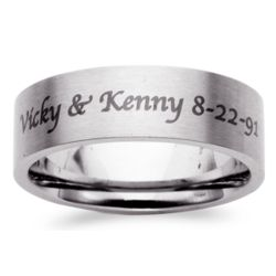 Men's Stainless Steel Flat Top Engraved Message Band