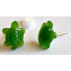 Nephrite Jade Turtle Stud Earrings