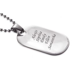 Stainless Steel Engraved Name Oval Tag Necklace